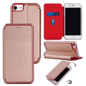 Voor iPhone SE (2020) Ultradunne Magnetic Fitted Leather Flip Case met Houder & Card Slot(Rose Glod)