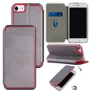 Voor iPhone SE (2020) Ultradunne magnetic fitted lederen flipcase met houder & kaartsleuf (grijs)