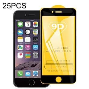 Voor iPhone 6 & iPhone 6s 25 PCS 9D Full Glue Full Screen Tempered Glass Film