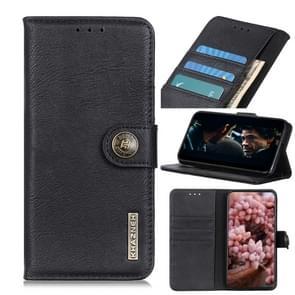 Voor iPhone SE 2020 KHAZNEH Cowhide Texture PU + TPU Links en Rechts Open Lederen Hoes met Bracket & Line Card en Wallet(Zwart)
