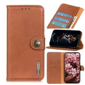 Voor iPhone SE 2020 KHAZNEH Cowhide Texture PU + TPU Links en Rechts Open Lederen Hoes met Bracket & Line Card en Wallet(Brown)