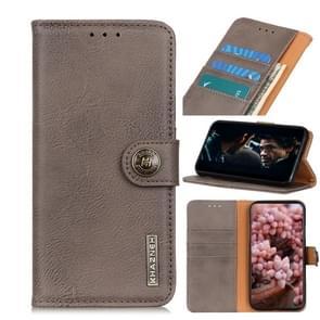 Voor iPhone SE 2020 KHAZNEH Cowhide Texture PU + TPU Links en Rechts Open Lederen Hoes met Bracket & Line Card en Wallet(Khaki)