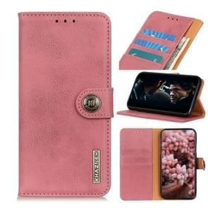 Voor iPhone SE 2020 KHAZNEH Cowhide Texture PU + TPU Links en Rechts Open Lederen Hoes met Bracket & Line Card en Wallet(Pink)