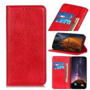 Voor iPhone SE 2020 Magnetic Suction Crazy Horse Pattern PU Links en Rechts Open met beugel en kaartsleuf en portemonnee (rood)