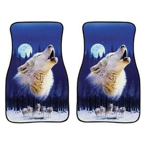 2 in 1 Universal Printing Auto Car Floor Mats Set  Style:White Wolf
