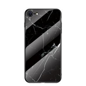 Voor iPhone SE 2020 Marble Pattern Glass + TPU Beschermhoes (Zwart)