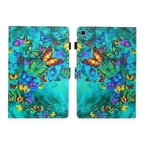Voor Galaxy Tab S6 Lite Naaidraad Links en Rechts Plat Lederen Hoes met Pen Cover & Card Slot & Buckle Anti-slip Strip en Bracket (Green Butterfly)