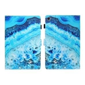 Voor Galaxy Tab S6 Lite Naaidraad Links en Rechts Plat Lederen Hoes met Pen Cover & Card Slot & Buckle Anti-slip Strip en Bracket (Blue Marble)