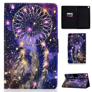 Voor Galaxy Tab S6 Lite Electric Pressed Left and Right Flat Feather Case with Pen Cover & Card Slot & Buckle Anti-slip Strip and Bracket(Wind Chimes)