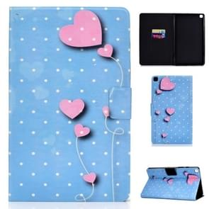 Voor Galaxy Tab S6 Lite Electric Pressed Left and Right Flat Feather Case with Pen Cover & Card Slot & Buckle Anti-slip Strip and Bracket (Love Balloon)