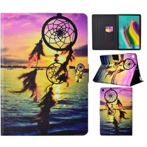 Voor Galaxy Tab S6 Lite Electric Pressed Left and Right Flat Feather Case with Pen Cover & Card Slot & Buckle Anti-slip Strip and Bracket(Dreamcatcher)