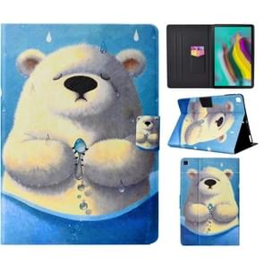 Voor Galaxy Tab S6 Lite Electric Pressed Left and Right Flat Feather Case with Pen Cover & Card Slot & Buckle Anti-slip Strip and Bracket(Polar Bear)