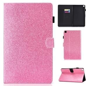 Voor Galaxy Tab S6 Lite Glitter Links en Rechts Plat Lederen Hoes met Pen Cover & Card Slot & Buckle Anti-slip Strip en Bracket(Pink)