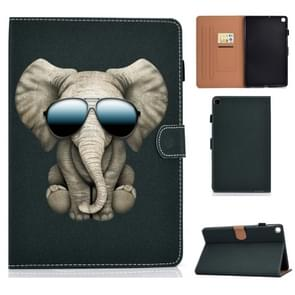 Voor Galaxy Tab S6 Lite Pure Color Painting Links en Rechts Plat Lederen Hoes met Pen Cover & Card Slot & Buckle Anti-slip Strip en Bracket(Elephant)