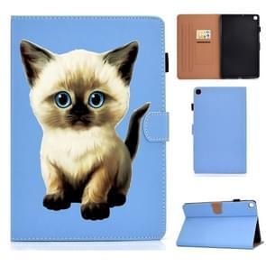Voor Galaxy Tab S6 Lite Pure Color Painting Links en Rechts Plat Lederen Hoes met Pen Cover & Card Slot & Buckle Anti-slip Strip en Bracket(Cat)