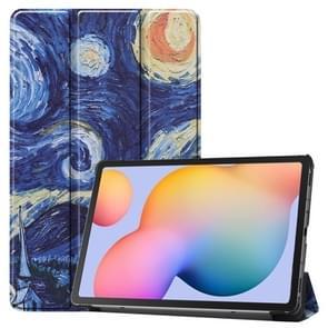 Voor Galaxy Tab S6 Lite 10 4 inch gekleurde tekening horizontale flip lederen behuizing  met drie-vouwen Houder (Starry Sky)