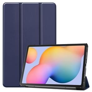 Voor Galaxy Tab S6 Lite 10 4 inch Custer Pattern Pure Color Horizontal Flip Leather Case met drie opvouwbare houder (blauw)