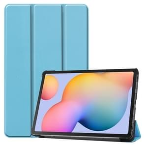 Voor Galaxy Tab S6 Lite 10 4 inch Custer Pattern Pure Color Horizontal Flip Leather Case met drie opvouwbare houder (Sky Blue)