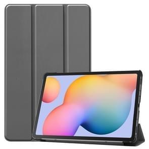 Voor Galaxy Tab S6 Lite 10 4 inch Custer Pattern Pure Color Horizontal Flip Leather Case met drie opvouwbare houder (grijs)