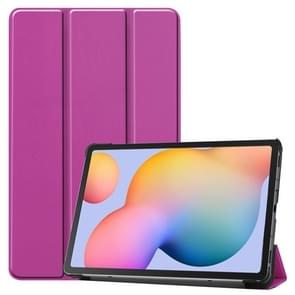 Voor Galaxy Tab S6 Lite 10 4 inch Custer Pattern Pure Color Horizontal Flip Leather Case met drie opvouwbare houder (paars)