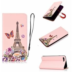 Voor iPhone SE (2020) Pure Color Painting Horizontal Flip Leather Case with Card Slot & Holder(Iron Tower)