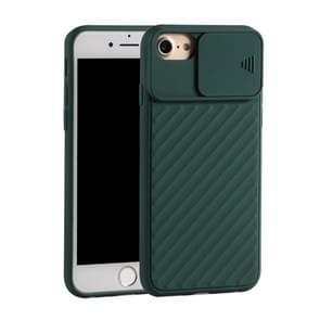 Voor iPhone SE (2020) Sliding Camera Cover Design Twill Anti-Slip TPU Case (Donkergroen)