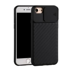 Voor iPhone SE (2020) Sliding Camera Cover Design Twill Anti-Slip TPU Case(Zwart)