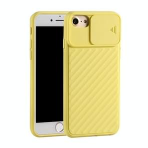 Voor iPhone SE (2020) Sliding Camera Cover Design Twill Anti-Slip TPU Case(Geel)