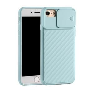 Voor iPhone SE (2020) Sliding Camera Cover Design Twill Anti-Slip TPU Case (Lichtblauw)