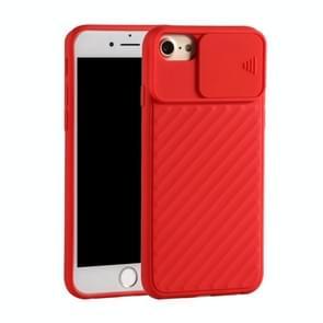 Voor iPhone SE (2020) Sliding Camera Cover Design Twill Anti-Slip TPU Case(Red)