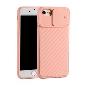 Voor iPhone SE (2020) Sliding Camera Cover Design Twill Anti-Slip TPU Case(Pink)