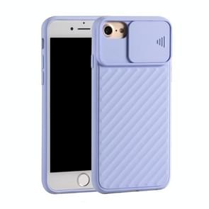 Voor iPhone SE (2020) Sliding Camera Cover Design Twill Anti-Slip TPU Case (Paars)
