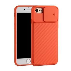 Voor iPhone SE (2020) Sliding Camera Cover Design Twill Anti-Slip TPU Case(Orange)