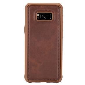 Voor Galaxy S8 Magnetic Shockproof PC + TPU + PU Lederen beschermhoes(Koffie)