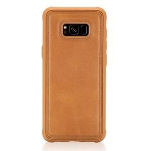 Voor Galaxy S8 Magnetic Shockproof PC + TPU + PU Lederen beschermhoes(Bruin)