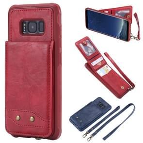Voor Galaxy S8 Vertical Flip Shockproof Leather Protective Case met Long Rope  Support Card Slots & Bracket & Photo Holder & Wallet Function(Red)