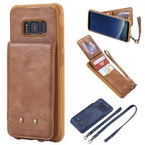Voor Galaxy S8 Vertical Flip Shockproof Leather Protective Case met Long Rope  Support Card Slots & Bracket & Photo Holder & Wallet Function(Brown)