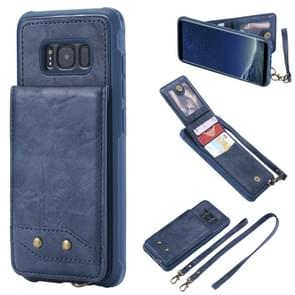 Voor Galaxy S8 Vertical Flip Shockproof Leather Protective Case met Long Rope  Support Card Slots & Bracket & Photo Holder & Wallet Function(Blue)