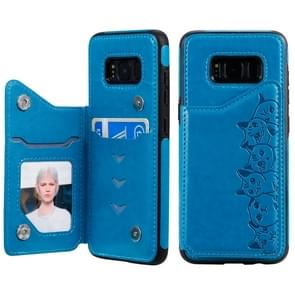 Voor Galaxy S8 Six Cats Embossing Pattern Protective Case met Holder & Card Slots & Photo Frame(Blue)
