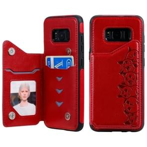 Voor Galaxy S8 Six Cats Embossing Pattern Protective Case met Holder & Card Slots & Photo Frame(Red)