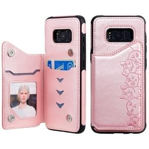 Voor Galaxy S8 Six Cats Embossing Pattern Protective Case met Holder & Card Slots & Photo Frame(Rose Gold)