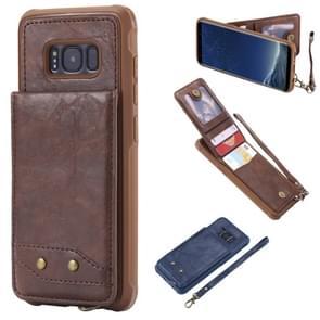 Voor Galaxy S8 Vertical Flip Shockproof Leather Protective Case met Short Rope  Support Card Slots & Bracket & Photo Holder & Wallet Function(Coffee)