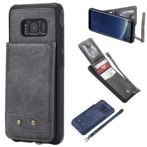 Voor Galaxy S8 Vertical Flip Shockproof Leather Protective Case met Short Rope  Support Card Slots & Bracket & Photo Holder & Wallet Function(Gray)