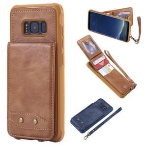 Voor Galaxy S8 Vertical Flip Shockproof Leather Protective Case met Short Rope  Support Card Slots & Bracket & Photo Holder & Wallet Function(Brown)