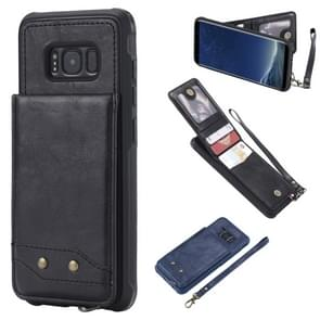 Voor Galaxy S8 Vertical Flip Shockproof Leather Protective Case met Short Rope  Support Card Slots & Bracket & Photo Holder & Wallet Function(Black)