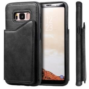 Voor Galaxy S8 Shockproof Calf Texture Protective Case met Holder & Card Slots & Frame(Black)