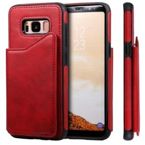 Voor Galaxy S8 Shockproof Calf Texture Protective Case met Holder & Card Slots & Frame(Red)