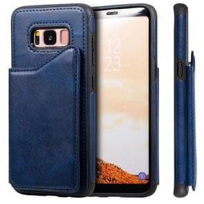 Voor Galaxy S8 Shockproof Calf Texture Protective Case met Holder & Card Slots & Frame(Blue)