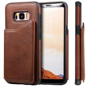 Voor Galaxy S8 Shockproof Calf Texture Protective Case met Holder & Card Slots & Frame(Coffee)
