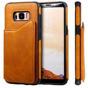 Voor Galaxy S8 Shockproof Calf Texture Protective Case met Holder & Card Slots & Frame(Brown)